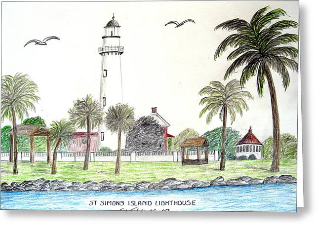 St Simons Island Lighthouse  Greeting Card by Frederic Kohli