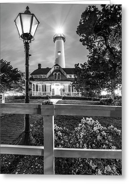 St. Simons Lighthouse Black And White Greeting Card by Debra and Dave Vanderlaan