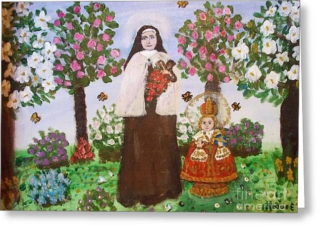 St. Teresa And The Infant Jesus Greeting Card by Seaux-N-Seau Soileau