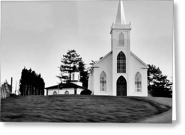 St Theresa Of Avila In Bodega Bay Used To Film The Birds By Alfred Hitchcock Greeting Card by Peggy Leyva Conley
