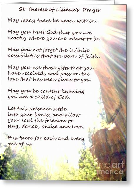 St Therese Of Lisieux Prayer And True Light Lower Emerald Pools Zion Greeting Card