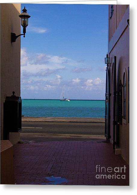 St. Thomas Alley 1 Greeting Card by Tim Mulina