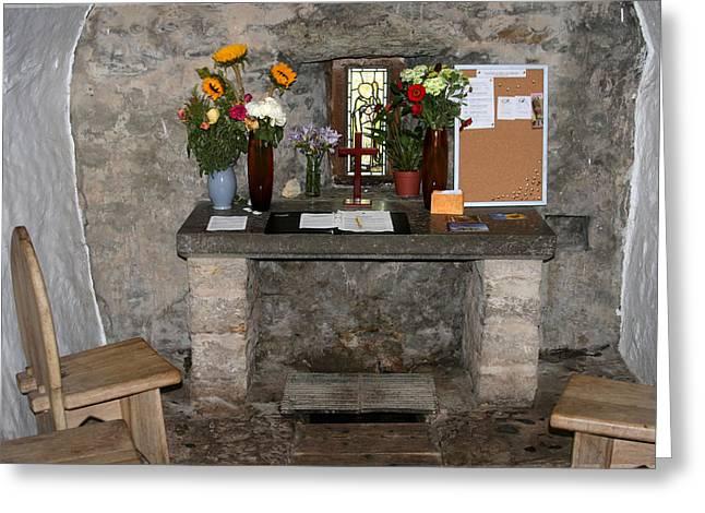 St. Trillo's Chapel - North Wales - Interior Greeting Card