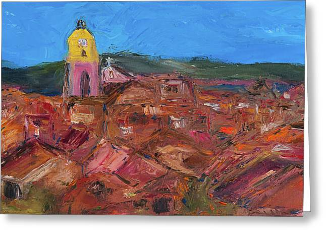 Recently Sold -  - Van Gogh Style Greeting Cards - St. Tropez Greeting Card by Dan Castle