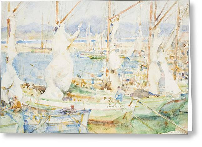 St Tropez Greeting Card by Henry Scott Tuke