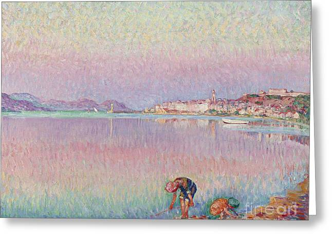 St Tropez. Two Kids By The Water Greeting Card