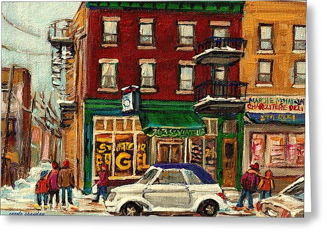 Montreal Cityscenes Paintings Greeting Cards - St Viateur Bagel And Mehadrins Deli Greeting Card by Carole Spandau