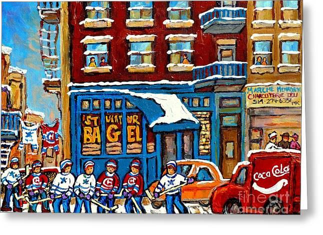 St Viateur Bagel Paintings Montreal Memories Street Hockey Coca Cola Truck Canadian Winter Scenes    Greeting Card by Carole Spandau
