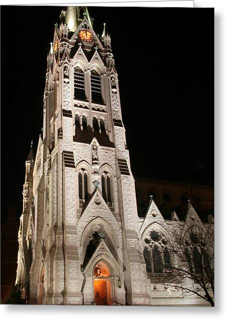 St. Xavier Full Height At Night Greeting Card