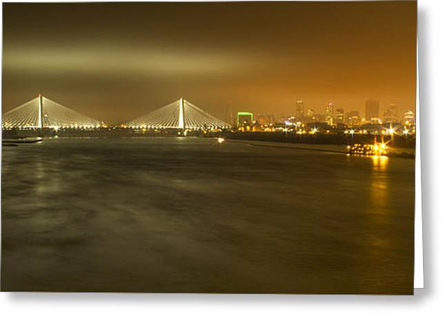 Sta Musial Bridge And St Louis Skyline Greeting Card by Garry McMichael