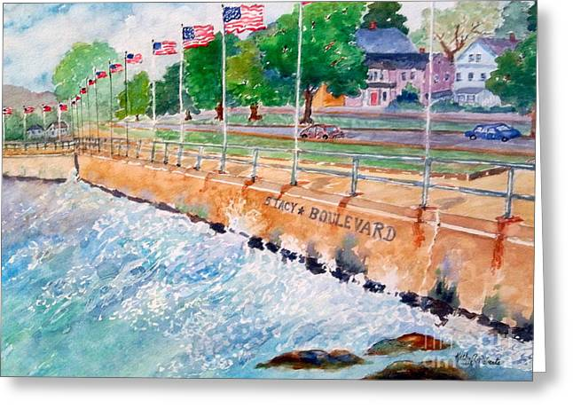 Stacey Boulevard,gloucester, Ma Greeting Card by Kathryn G Roberts
