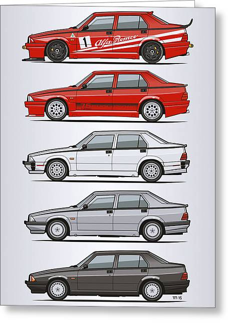 Stack Of Alfa Romeo 75 Tipo 161, 162b Milanos  Greeting Card by Monkey Crisis On Mars