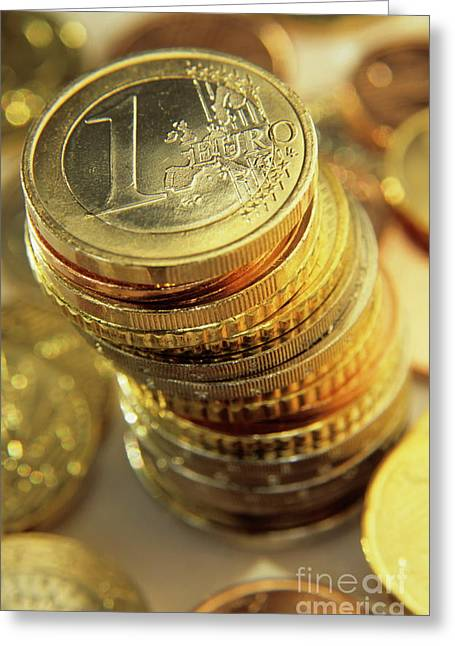 Stack Of Euros Coins Greeting Card by Sami Sarkis