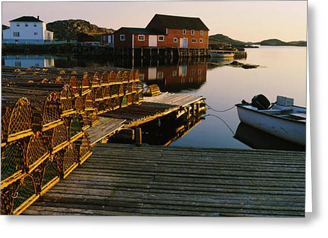 Stack Of Lobster Traps At A Dock Greeting Card by Panoramic Images