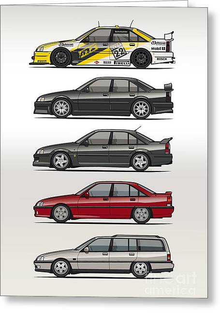 Stack Of Opel Omegas Vauxhall Carlton A Greeting Card by Monkey Crisis On Mars