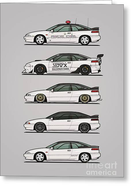 Stack Of Pearl White Subaru Alcyone Svx Greeting Card by Monkey Crisis On Mars
