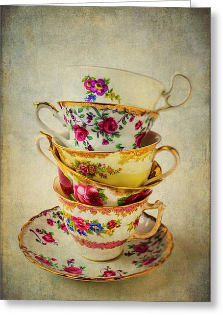 Stack Of Pretty Tea Cups Greeting Card