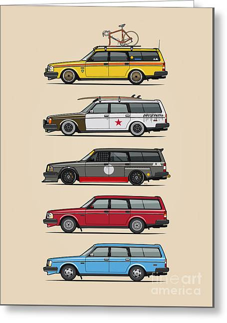 Stack Of Volvo 200 Series 245 Wagons Greeting Card