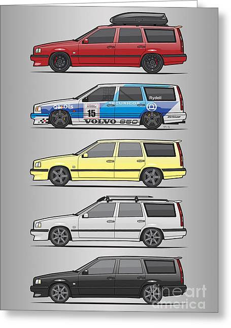 Stack Of Volvo 850r 855r T5 Turbo Station Wagons Greeting Card by Monkey Crisis On Mars