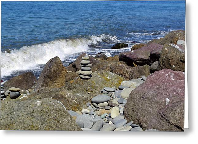 Greeting Card featuring the photograph Stacked Against The Waves by Tikvah's Hope