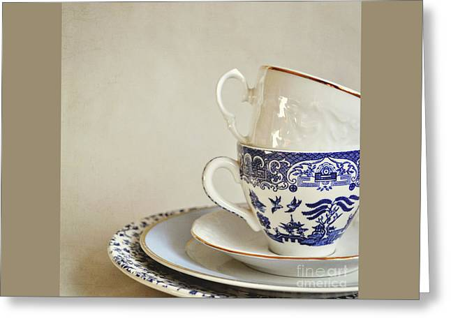 Stacked Blue And White China Cups And Saucers. Greeting Card by Lyn Randle