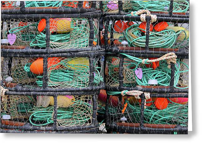 Stacked Crab Traps Greeting Card