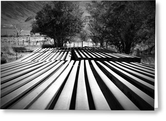 Owen County Greeting Cards - Stacked Rails Laws CA Greeting Card by Troy Montemayor