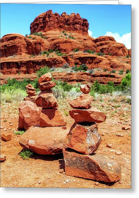 Stacked Rocks At Bell Rock In Sedona Greeting Card by Susan Schmitz