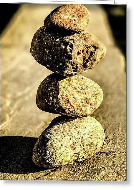 Greeting Card featuring the photograph Stacked Rocks by Onyonet  Photo Studios