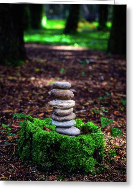 Greeting Card featuring the photograph Stacked Stones And Fairy Tales Iv by Marco Oliveira