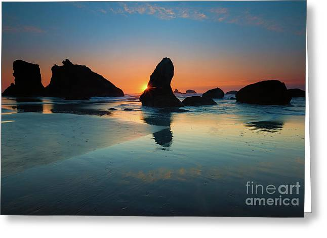 Stacked Sunset Greeting Card by Mike Dawson