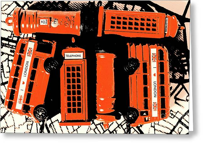 Stacking The Double Deckers Greeting Card