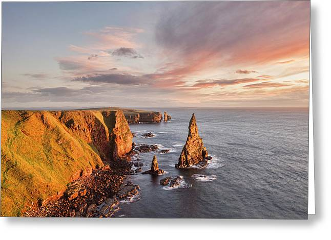 Stacks Of Duncansby Sunrise Greeting Card by Colin and Linda McKie