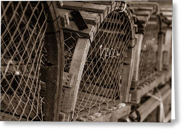 Greeting Card featuring the photograph Stacks Of Pei Loberster Traps by Chris Bordeleau