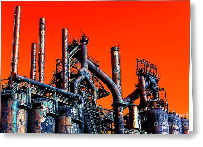 Stacks Of Steel Pop Art Greeting Card by John Rizzuto