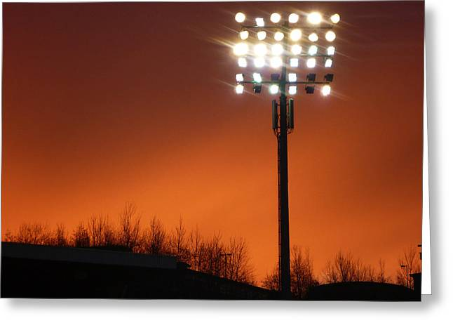 Stadium Lights Greeting Card by RKAB Works