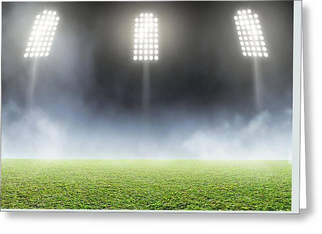 Stadium Outdoor Floodlit Greeting Card by Allan Swart