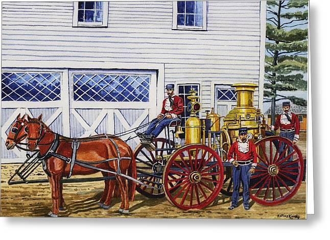 Stafford Springs Ct. Fire Dept. 1880's Greeting Card by Jeff Blazejovsky