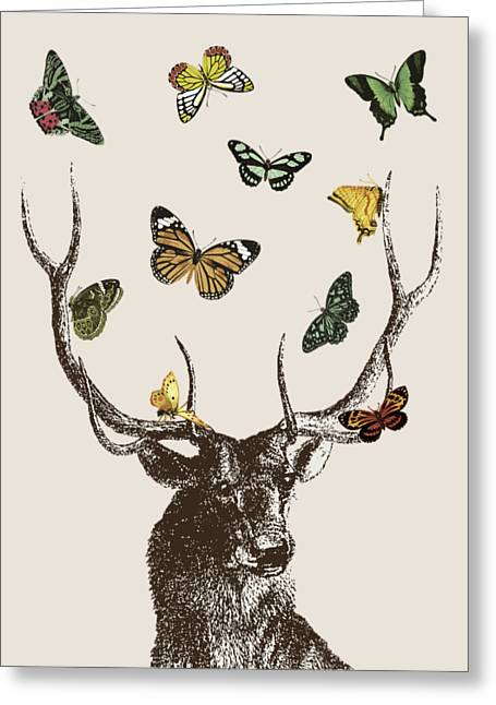 Stag And Butterflies Greeting Card by Eclectic at HeART