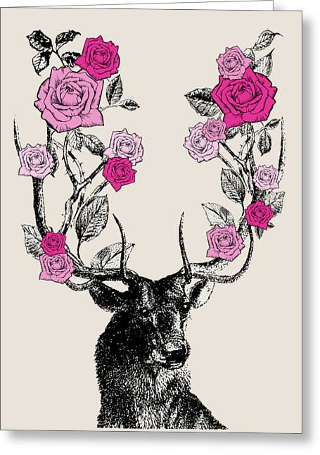 Stag And Roses Greeting Card