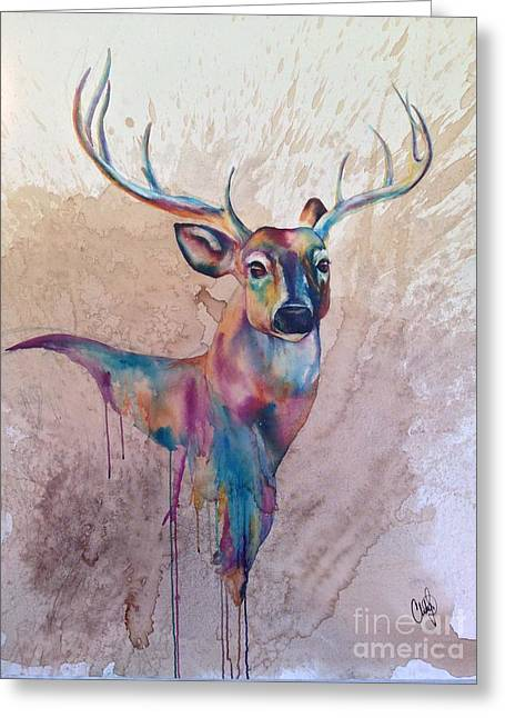 Greeting Card featuring the painting Stag Spirit by Christy  Freeman