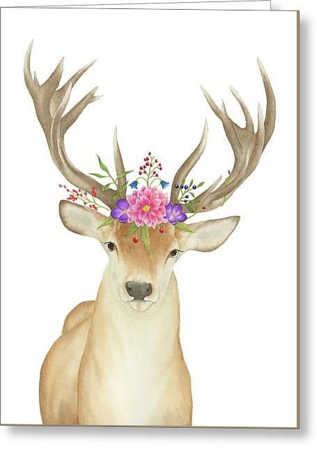 Stag Watercolor  Greeting Card