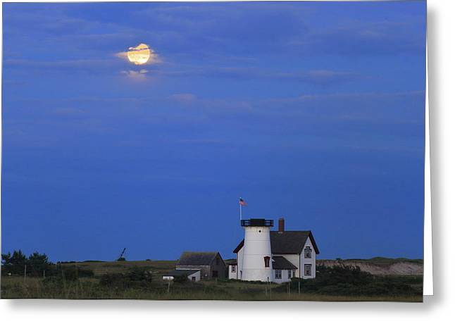 Stage Harbor Lighthouse Cape Cod Moon And Clouds Greeting Card