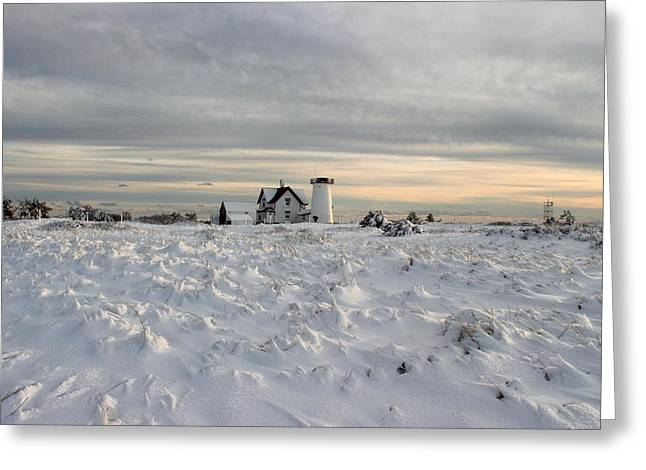 Stage Harbor Lighthouse Cape Cod Winter Greeting Card