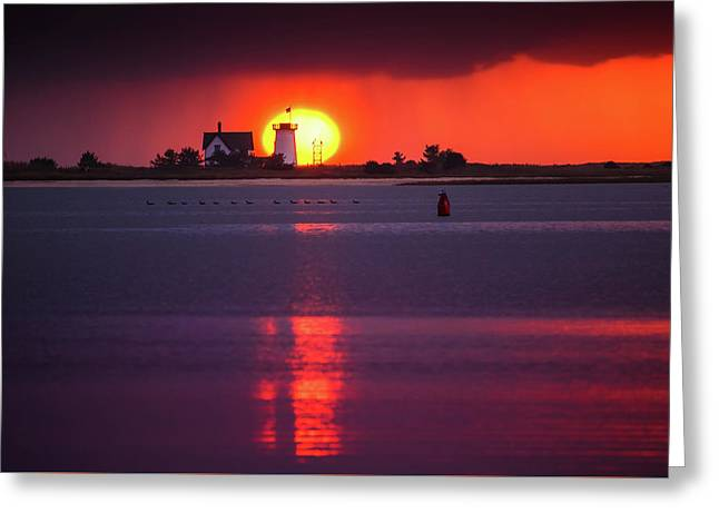 Stage Harbor Lighthouse In Chatham At Sunset Greeting Card
