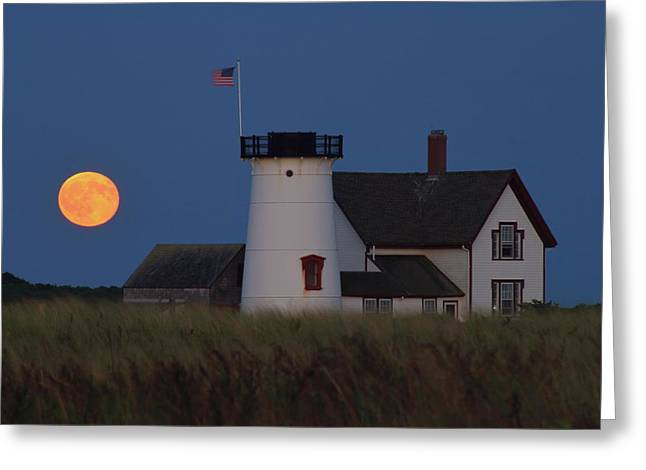 Stage Harbor Lighthouse Moonrise Greeting Card
