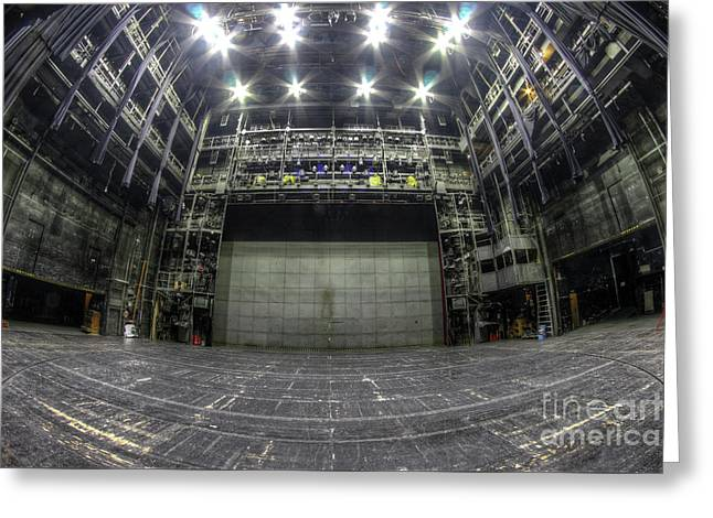 Stage In The Abandoned Theater Greeting Card by Michal Boubin