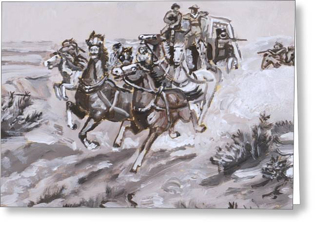 Stagecoach Attacked Historical Vignette Greeting Card by Dawn Senior-Trask