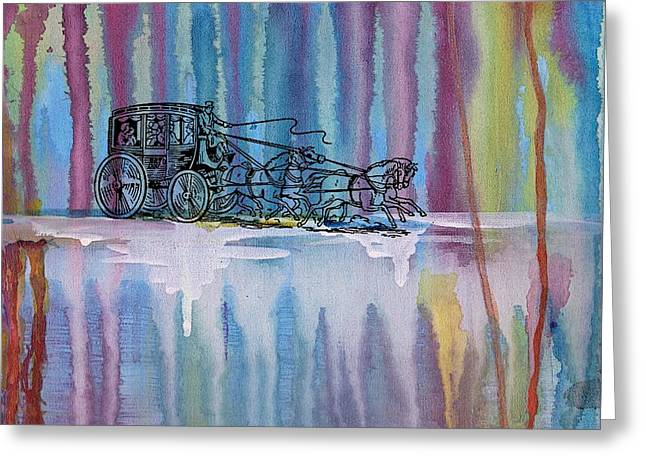 Stagecoach In The Rain Greeting Card