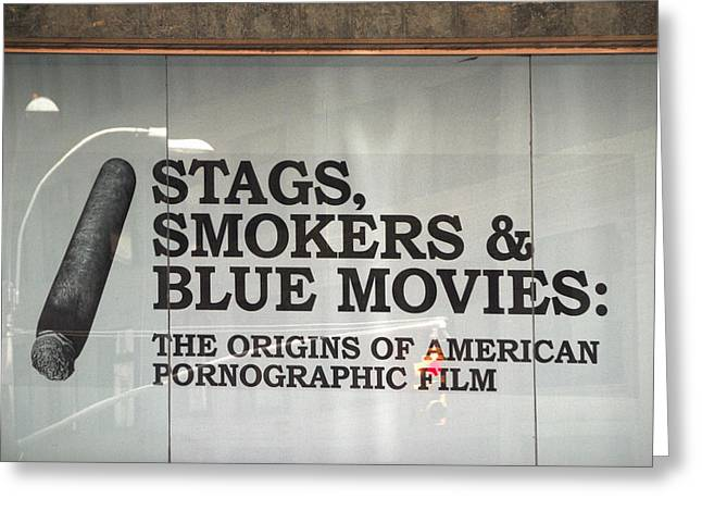 Stags Smokers And Blue Movies Greeting Card by James Zuffoletto